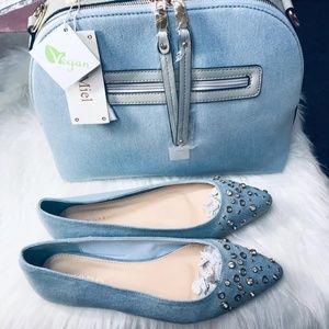 🆕️Light Denim Studded Pointy Toe Flats